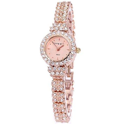 King royal Girl Rotgold Armbanduhr Frauen Top Marke einzigartige volle Kristalldiamanten zum Damequarz Runde pink Wahl
