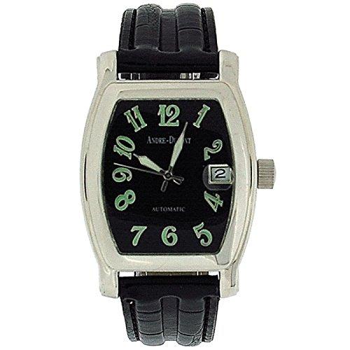 ANDR DUMONT Herren Automatikarmbanduhr mit Datumsfunktion und schwarzem Armband in Kroko Optik