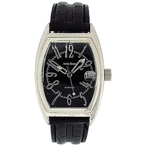 ANDR DUMONT BOXX205 Herrenautomatikuhr mit Datumsfunktion und schwarzem Armband in Kroko Optik