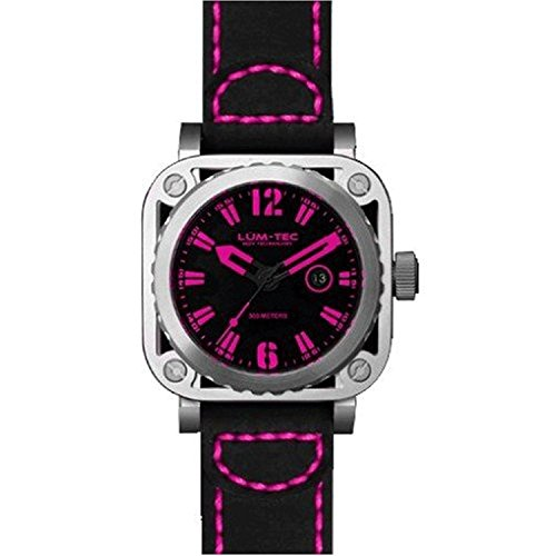 LUM TEC LTG10 Schwarze Lederriemen Rosa Vorwahlknopf Skeleton Uhr der Maenner
