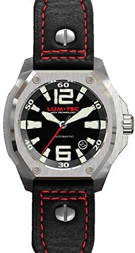 Lum Tec LTV1R Mens Schwarz Leder Strape V Serie Limited Edition Automatikuhr