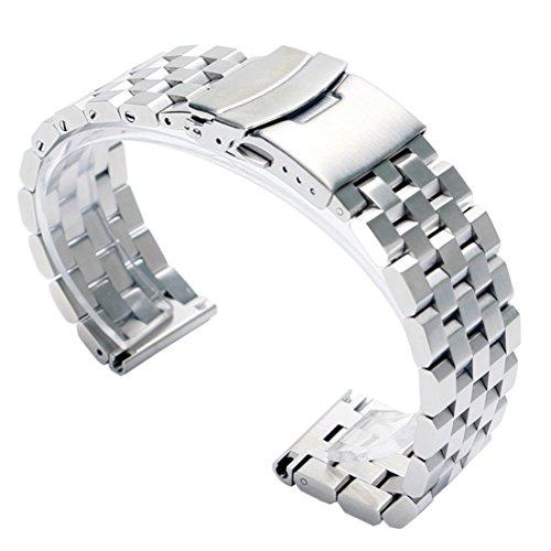 fasiou 24 mm Edelstahl massiv Band Gurte 2 4 cm Breite Armbanduhr Band doppelte Verriegelung Fold Over Schliesse Herren Silber