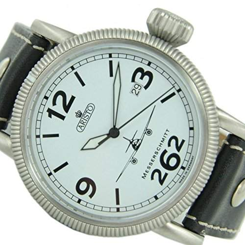 Aristo Herren Messerschmitt Uhr Fliegeruhr ME 262 Weisse 3H262-3