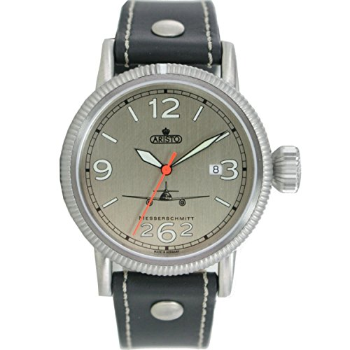 Aristo Herren Messerschmitt Uhr Fliegeruhr ME 262 Automatik 3H262 ALU Leder