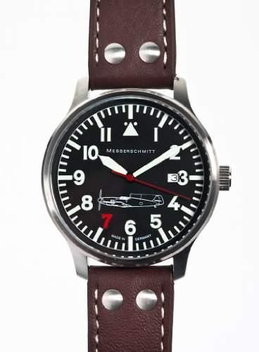 ARISTO Uhr - Messerschmitt Fliegeruhr Edelstahl Rote Sieben mit Ronda Quarzuhrwerk - ME109-42R7
