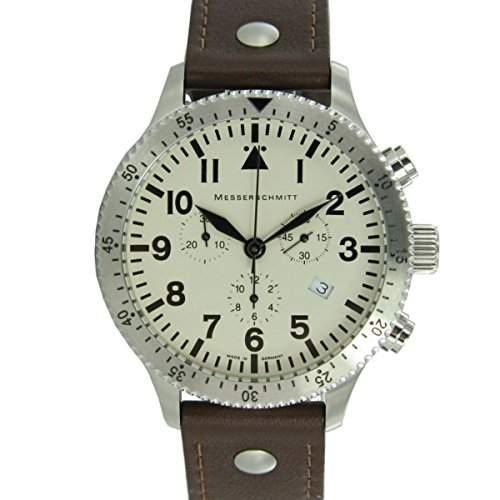 Aristo Herren Messerschmitt Uhr Chronograph Fliegeruhr ME-5030BEIGE