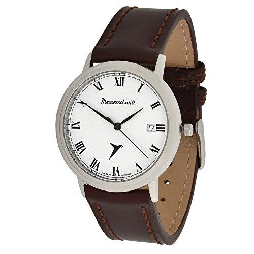Messerschmitt Unisex Armbanduhr schweizer Quarz Uhrwerk Ronda 715 ME 4H200R mit Lederarmband 5 ATM
