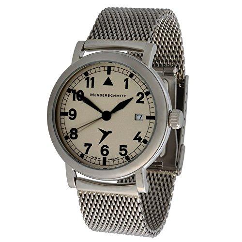 Messerschmitt Unisex Quarz Fliegeruhr ME1285 1M 5ATM schweizer Ronda 515 Uhrwerk mit Milanaise Armband