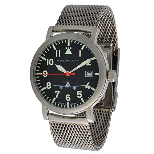 Messerschmitt Unisex Quarz Fliegeruhr ME262 B1M 5ATM schweizer Ronda 515 Uhrwerk mit Milanaise Armband