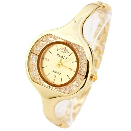 OverDose Damen Frauen Armbanduhr runde Vorwahlknopf Armband Tabellen Uhren Gold