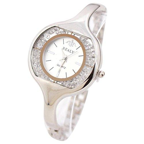 OverDose Damen Frauen Armbanduhr runde Vorwahlknopf Armband Tabellen Uhren Silber