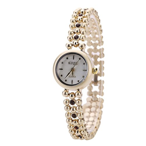 OverDose Damen Arbeiten Sie Retro Diamant Uhr beilaeufigen Quarz um Uhrenarmbanduhr A