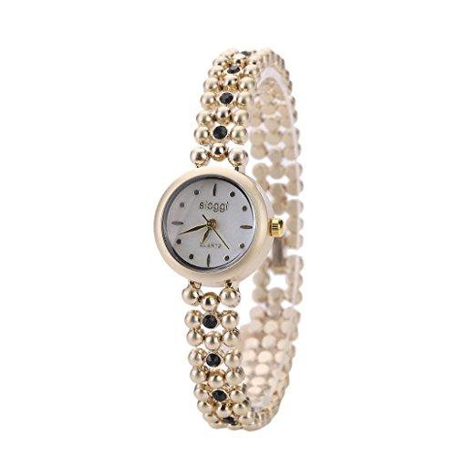 OverDose Damen Arbeiten Sie Retro Diamant Uhr beilaeufigen Quarz um Uhrenarmbanduhr B