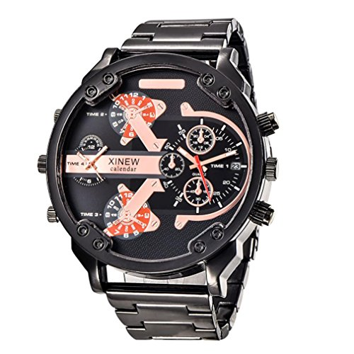 OverDose Herren Luxus Uhr Edelstahl Sport analoge uhren Schwarz 1