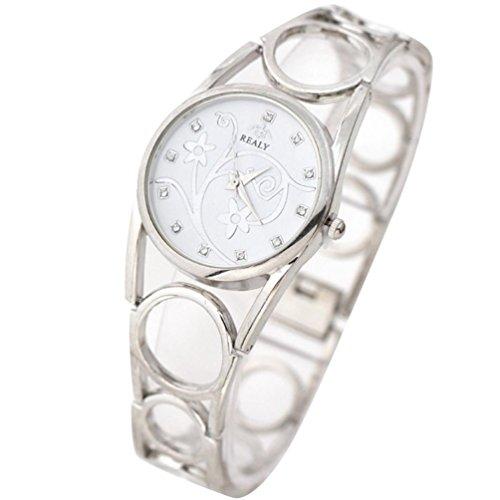 OverDose Damen Frauen Hohle Buegel Armband Uhr runde Vorwahlknopf Armband Tabellen Uhren Silber