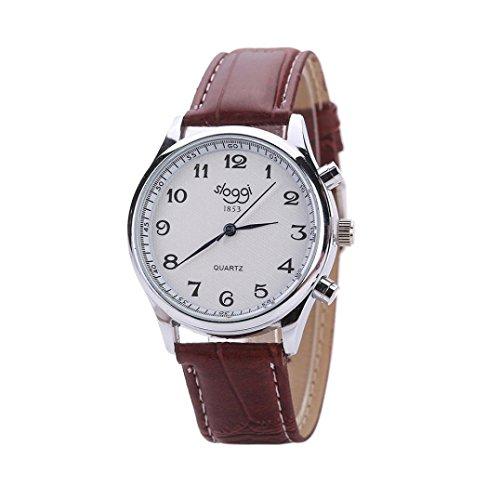 OverDose Herren General Business Leder armband Quarz uhr Braun1