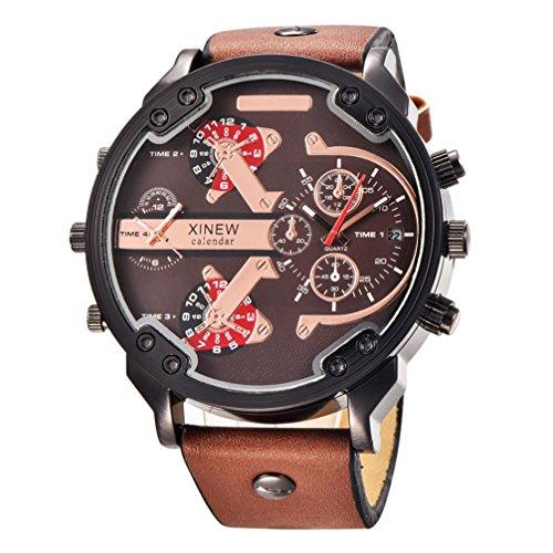 OverDose Luxux uhr Leder Datums analoge Quarz Sport Armbanduhren uhren C