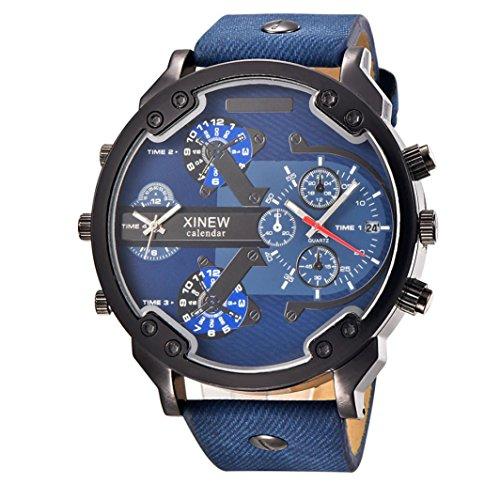 OverDose Luxux uhr Leder Datums analoge Quarz Sport Armbanduhren uhren F