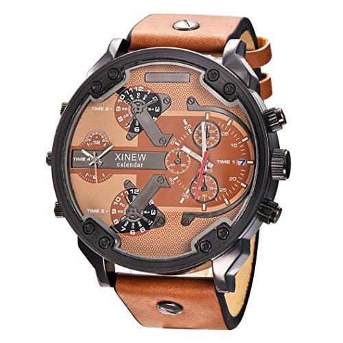 OverDose Luxux uhr Leder Datums analoge Quarz Sport Armbanduhren uhren E