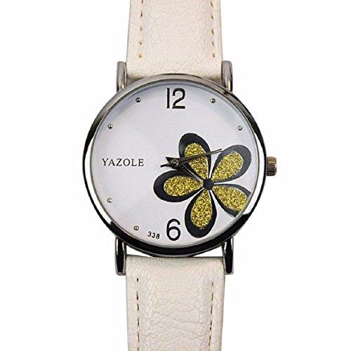 OverDose Damen Maedchen Die Uhren der Frauen Blume Mode Leder analoge Quarz Mode Armbanduhr Weiss 1