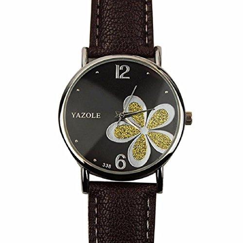 OverDose Damen Maedchen Die Uhren der Frauen Blume Mode Leder analoge Quarz Mode Armbanduhr Braun 1