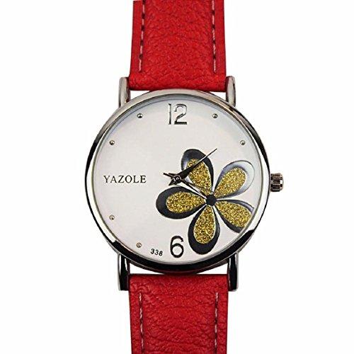 OverDose Damen Maedchen Die Uhren der Frauen Blume Mode Leder analoge Quarz Mode Armbanduhr Rot 2