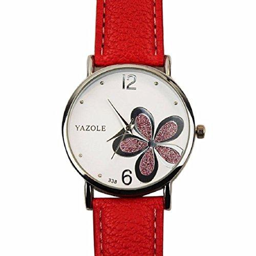 OverDose Damen Maedchen Die Uhren der Frauen Blume Mode Leder analoge Quarz Mode Armbanduhr Rot 1