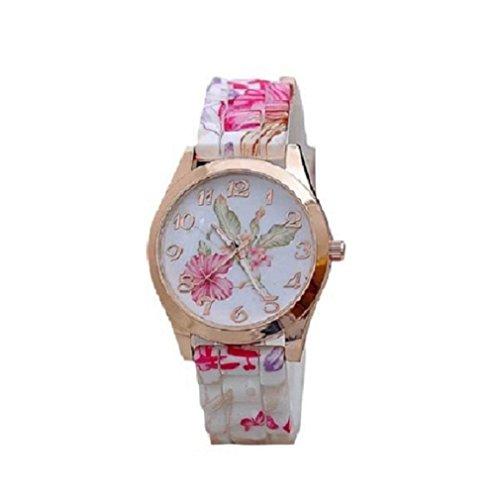 OverDose Damen Maedchen Uhr Silikon gedruckte Blumen Causal Rosa