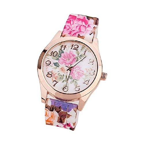 OverDose Damen Maedchen Uhr Silikon gedruckte Blumen Causal Hot pink