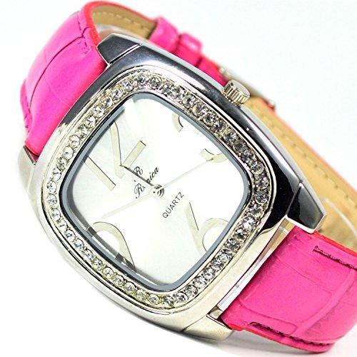 Unisex Herren Damen XL Armbanduhr Pink Silber Trend Mode Fashion Uhr ca x 40 Strass alBraun Schwarz in Retro Look mit Datumsanzeige