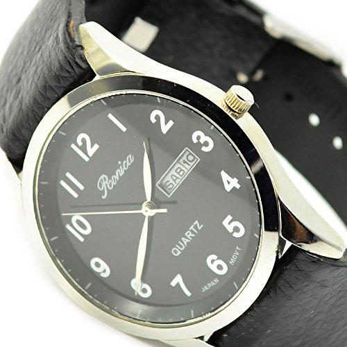 Klassische HerrenArmbanduhr Schwarz Silber mit Datum sehr Edel Elegant al 581