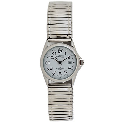 Madison MAD 005 Uhr Zugband Metall 3 bar Analog Datum silber
