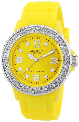Gelbe Damen Madison New York Armbanduhr veredelt mit SWAROVSKI ELEMENTS