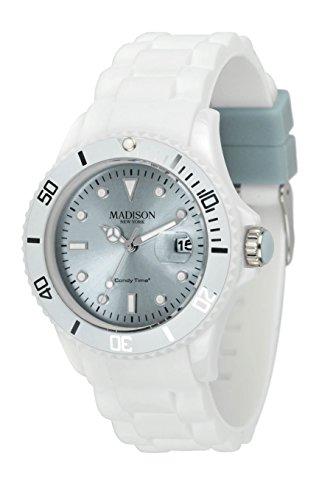 MADISON NEW YORK Unisex Uhr Candy Time White Fashion Grau Onesize