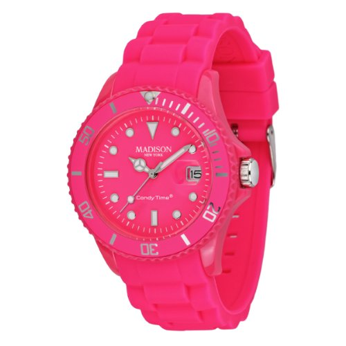 Madison New York Unisex Armbanduhr Candy Time Neon Fuchsia Analog Quarz Silikon U4503 48