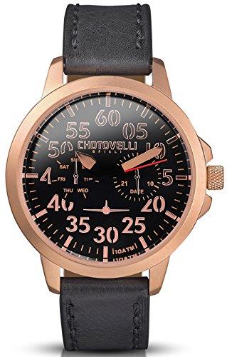 Chotovelli 3300 14 Aviator Herren Gold Armbanduhr Schwarz Tag Datum Display schwarz Leder Band