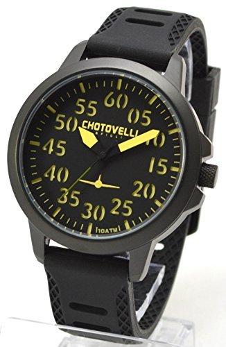 Chotovelli 3300 2 Aviator mit 3D schwarz Zifferblatt Analog Anzeige und Silikon Strap 45 mm