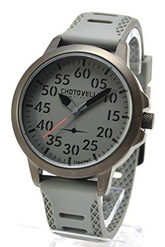 Chotovelli 3300 3 Aviator mit grau 3D Zifferblatt Analog Anzeige und Silikon Strap 45 mm