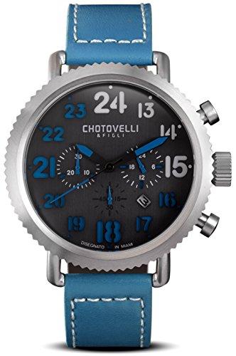 Vintage Pilot Armbanduhr Herren Stahl Blau Leder Band Chronograph Display Chotovelli 7200 12