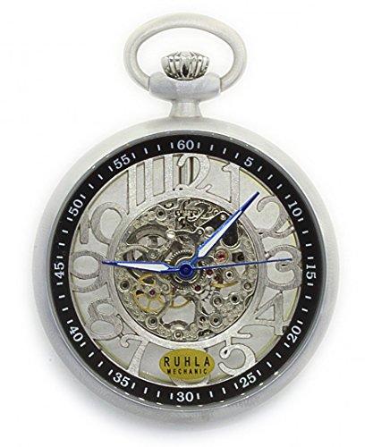 Klassische Taschenuhr Ruhla mechanik mit Glasboden 5077 inkl Taschenuhrkette