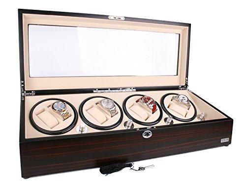 AXIS Luxus Ebenholz Automatik 8 Uhrenbeweger NEU mit 12 Uhren Aufbewahrung