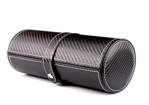 AXIS Schwarz Carbon Faser Leder Effekt Zylindrische Armbanduhr und Schmuck Travel Case