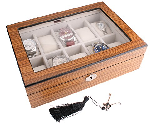 AXIS Zebramuster mattes Finish Uhren Aufbewahrungsbox Holz fuer 10 Uhren