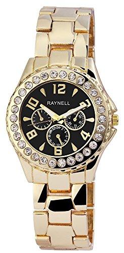 Damen mit Quarzwerk RP4990100001 Metallgehaeuse mit Metall Armband und Faltschliesse Ziffernblattfarbe Schwarz Bandgesamtlaenge 20 cm Armbandbreite 20 mm