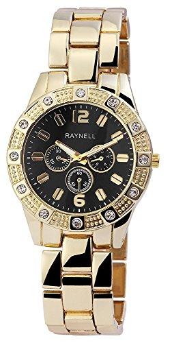 Damen mit Quarzwerk RP4990100004 Metallgehaeuse mit Metall Armband in Goldfarbig und Faltschliesse Ziffernblattfarbe Schwarz Bandgesamtlaenge 20 cm Armbandbreite 20 mm