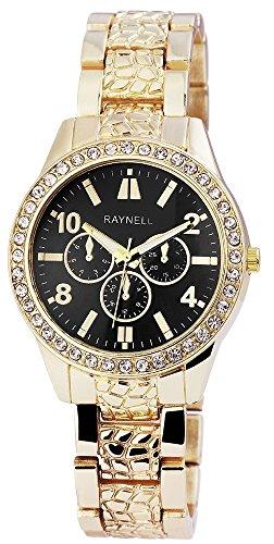 Damen mit Quarzwerk RP4990100005 Metallgehaeuse mit Metall Armband in Goldfarbig und Faltschliesse Ziffernblattfarbe Schwarz Bandgesamtlaenge 20 cm Armbandbreite 18 mm