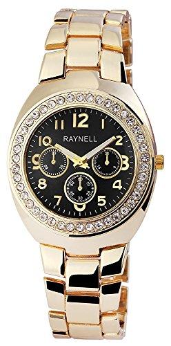 Damen mit Quarzwerk RP4990100008 Metallgehaeuse mit Metall Armband in Goldfarbig und Faltschliesse Ziffernblattfarbe Schwarz Bandgesamtlaenge 20 cm Armbandbreite 18 mm