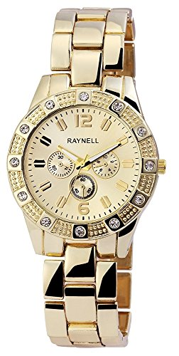 Damen mit Quarzwerk RP4990400004 Metallgehaeuse mit Metall Armband und Faltschliesse Ziffernblattfarbe Goldfarbig Bandgesamtlaenge 20 cm Armbandbreite 20 mm