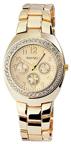 Damen mit Quarzwerk RP4990400008 Metallgehaeuse mit Metall Armband in Goldfarbig und Faltschliesse Ziffernblattfarbe Goldfarbig Bandgesamtlaenge 20 cm Armbandbreite 18 mm