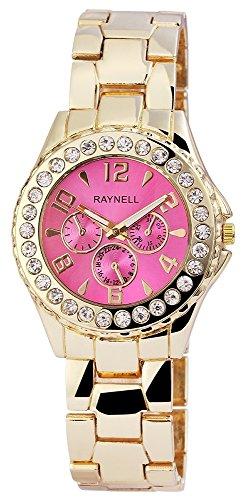 Damen mit Quarzwerk RP4990550001 Metallgehaeuse mit Metall Armband in Goldfarbig und Faltschliesse Ziffernblattfarbe Pink Bandgesamtlaenge 20 cm Armbandbreite 20 mm